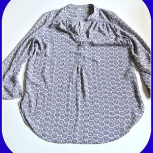Halogen Blue Honeycomb Pattern Blouse
